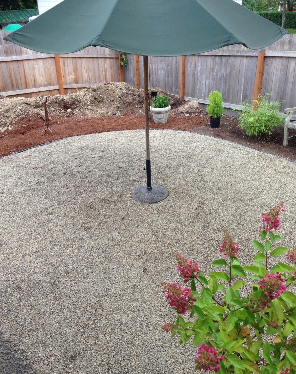 pea gravel patio progress