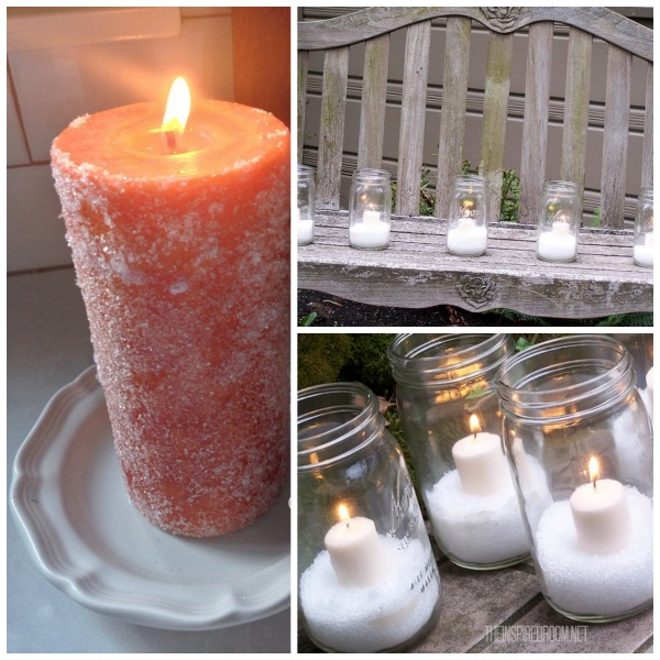 DIY Glittery Snow Candle