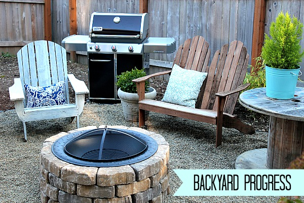 DIY backyard firepit, backyard and gravel patio makeover