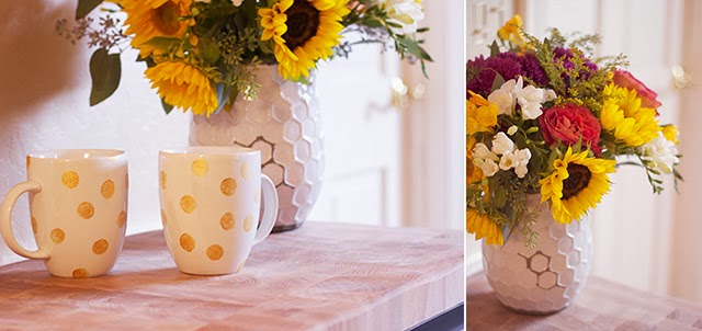 DIY gold polka dot mugs