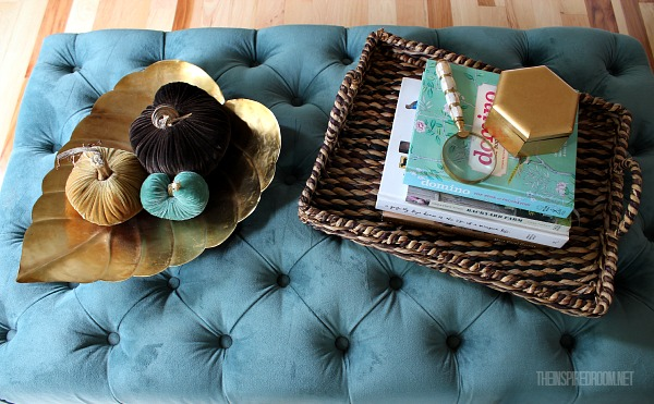 Fall decorating coffee table ottoman