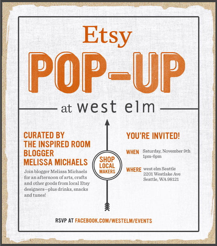 West Elm + Etsy + The Inspired Room {Etsy Pop Up at West Elm!}