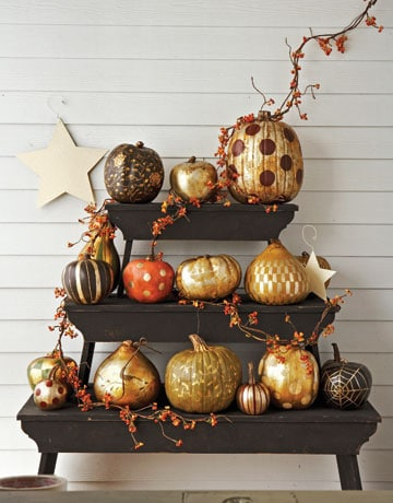 gold gilded painted pumpkins