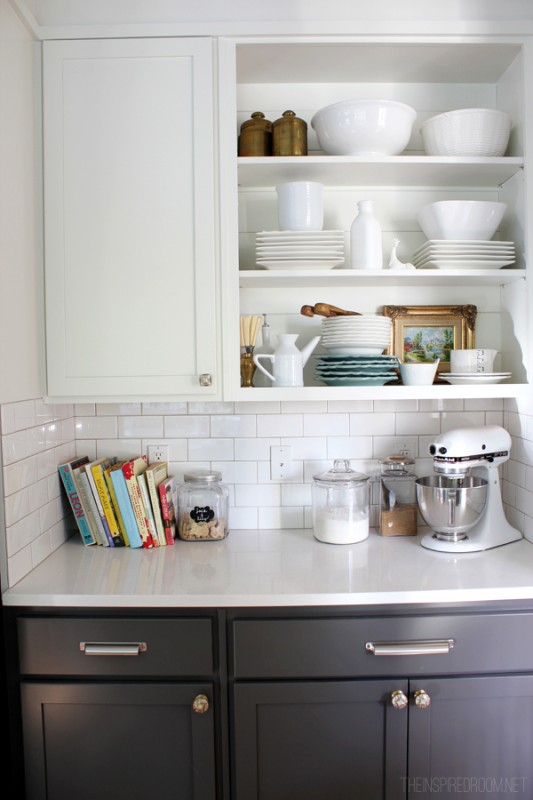 open shelves for dishes