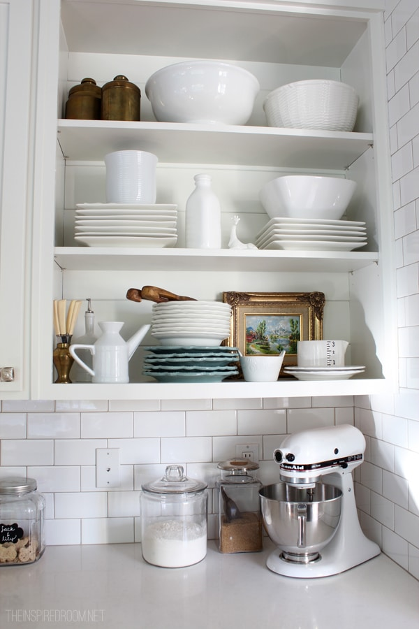 open shelves with dishes