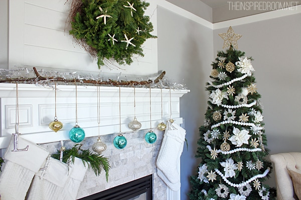 Christmas mantel hanging stockings The Inspired Room