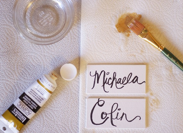 Gold DIY Place Cards & Thanksgiving Tablescape