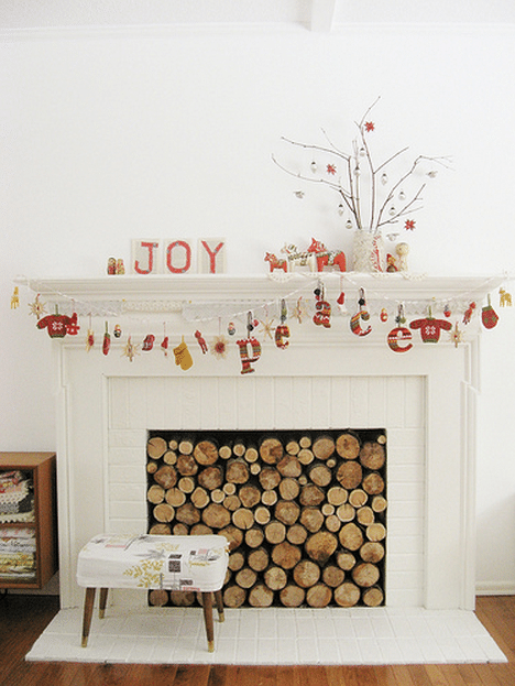Whimsical Christmas Mantel via Dottie Angel