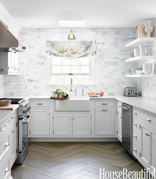 Flooring Design For Kitchen: Beautiful White And Gray Kitchen