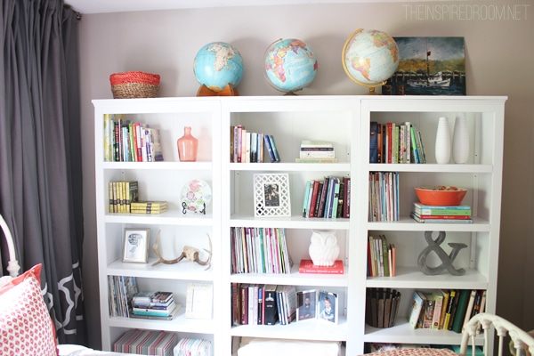Our cozy new guest room home library with three target Bookshelves in bedroom ideas
