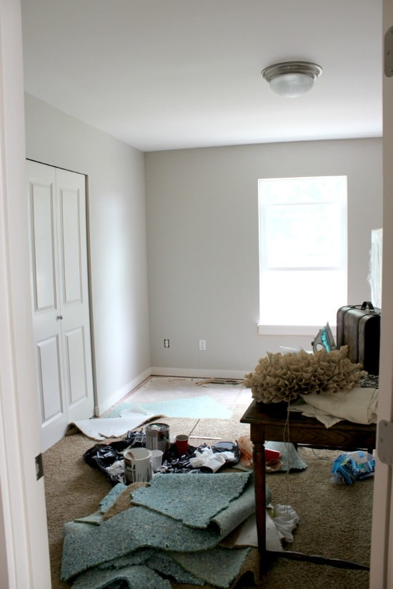 guest room makeover progress before