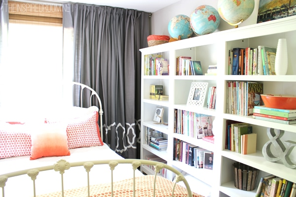 bookcases styled in bedroom