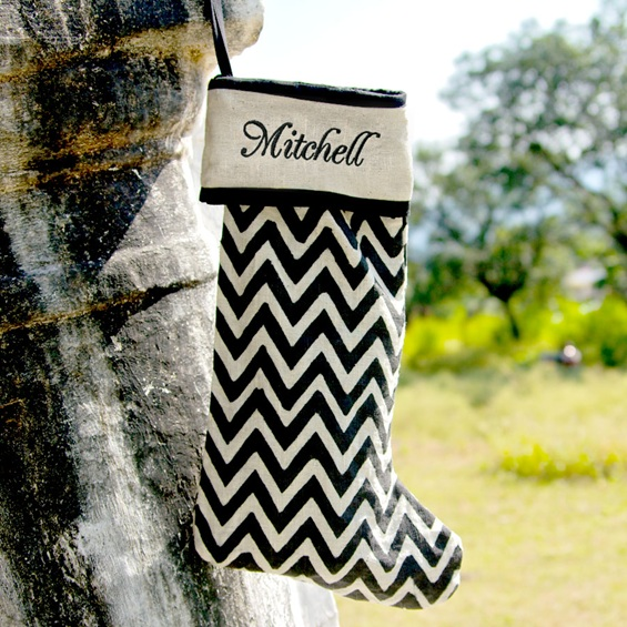 personalized chevron christmas stocking