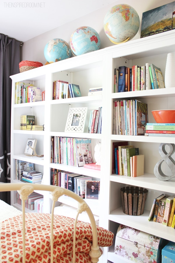 bookshelves in guest bedroom