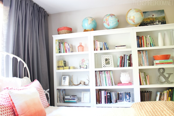 A Home Library With Three Target Threshold Bookcases Our Cozy New Guest Room