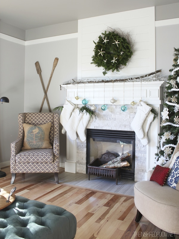 Christmas Mantel Family Room The Inspired Room House Tour