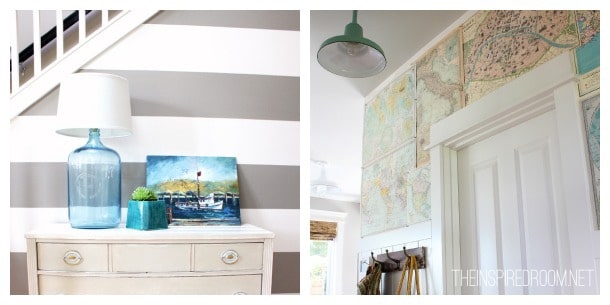 DIY Bottle Lamp & Map Wall - The Inspired Room