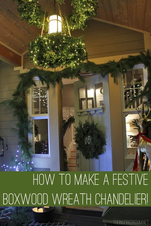 DIY How To Tutorial - Christmas Wreath Chandelier