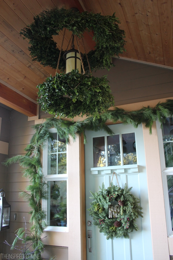 DIY boxwood wreath chandelier christmas porch