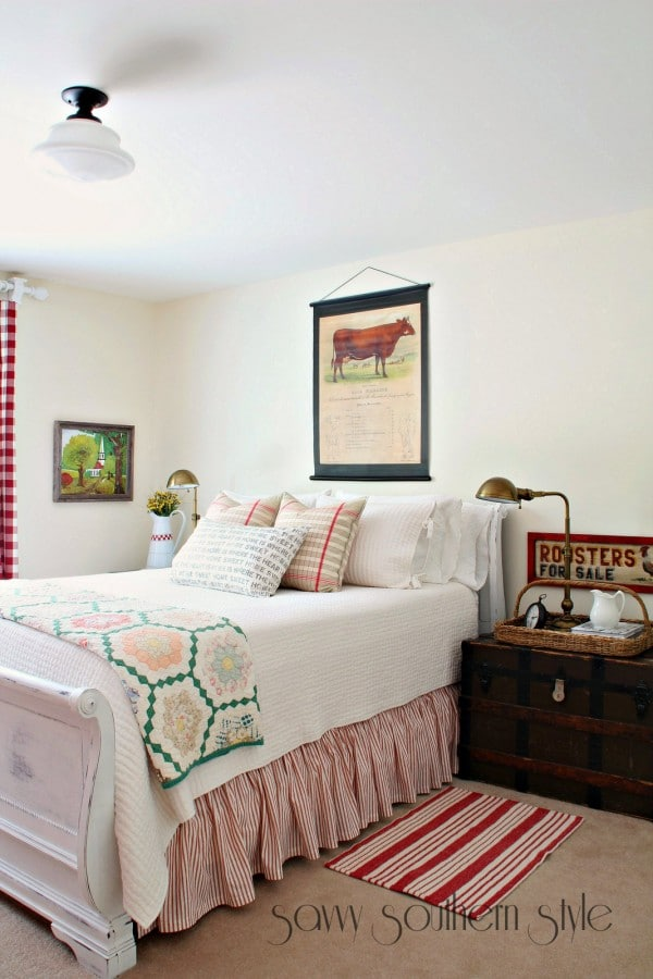 Home decorating ideas before and after room makeover for Farmhouse guest bedroom