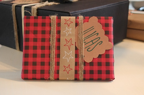 Scrapbook Paper and Grocery Bag Ribbon