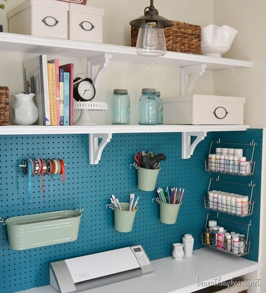 Inspiration craft closet organization the inspired room for Small craft table with storage