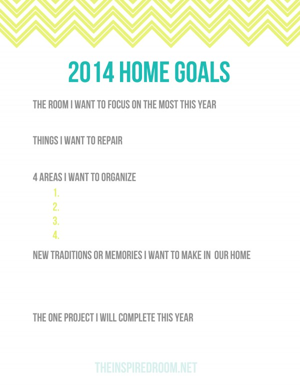 Home Goals Printable 2014 Worksheet