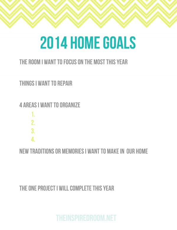 2014 Home Goals Worksheet {A Free Printable!}