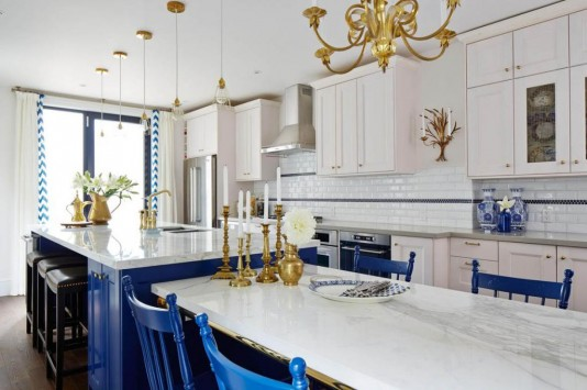 Sarah Richardson's Royal Blue, Gold, and White Kitchen