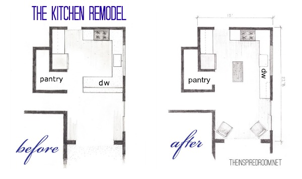 The kitchen floor plans before after bird 39 s eye sketch for How to design a kitchen floor plan