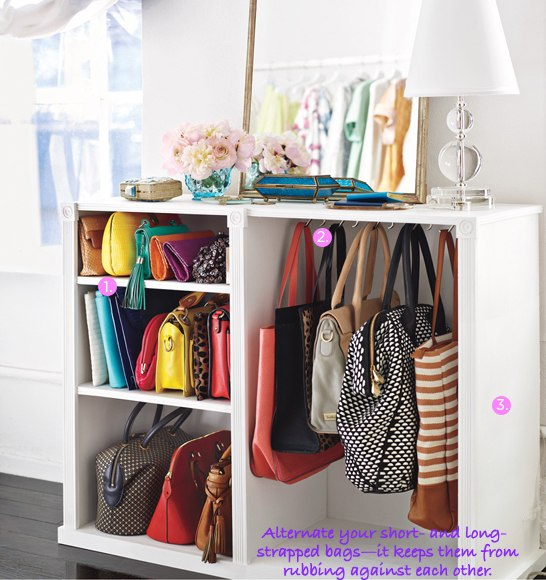 organize bags and purses