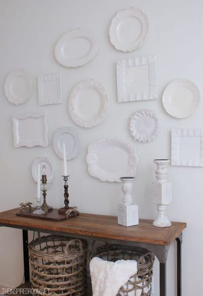 white plates on wall