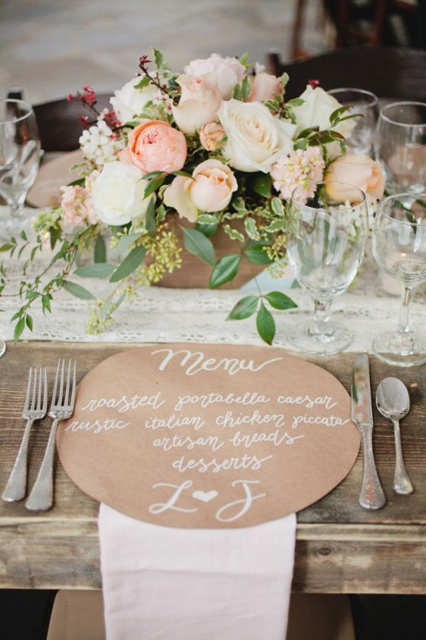 Photography: Kristyn Hogan - kristynhogan.com Event Design, Floral Design +Planning: Cedarwood Weddings - cedarwoodweddings.com   #place-settings, #rustic, #centerpiece, #menu