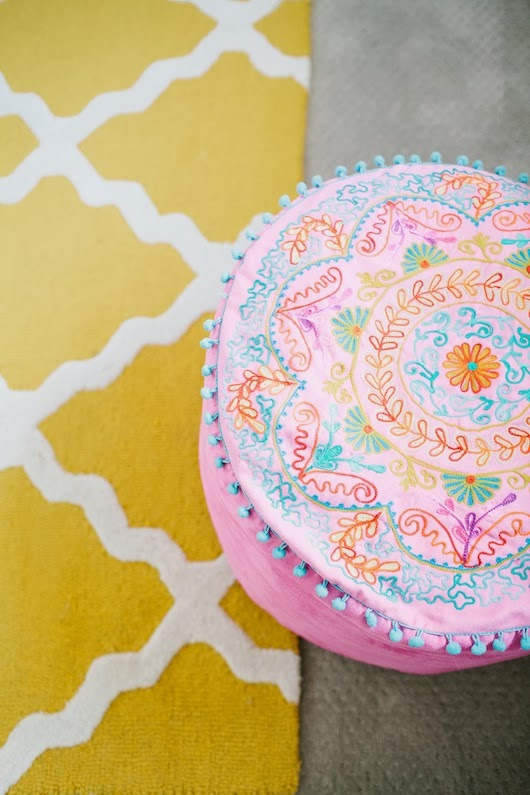 Pom Pom Embroidered Pouf Kids Room