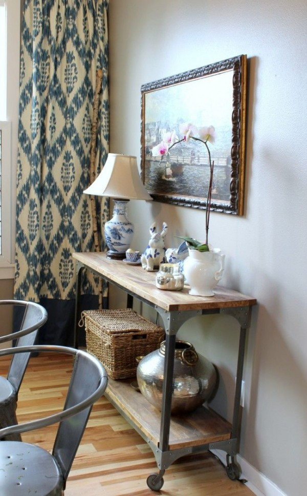 The Inspired Room Dining Room Console and Ikat Curtains