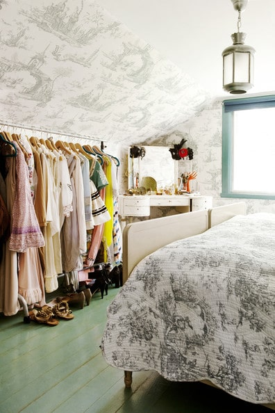 Toile Wallpaper Rolling Clothes Rack Lonny Magazine