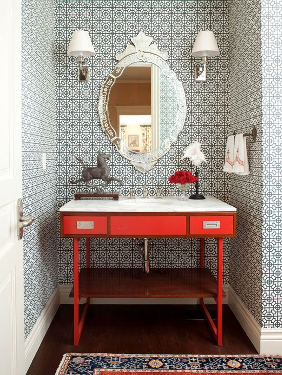 Wallpaper for the powder room the inspired room - Powder room wallpaper ideas ...