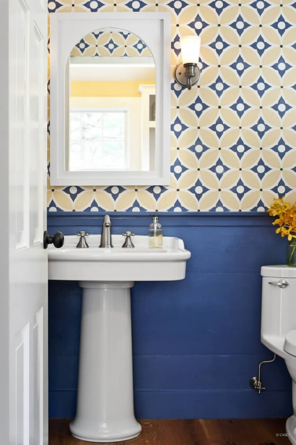 Bathroom Yellow and Blue Wallpaper