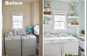 Before and After Coastal Laundry Room