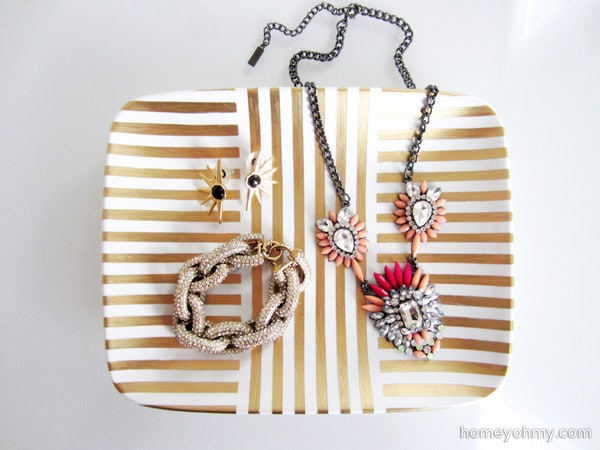 DIY Gold Leaf Jewelry Tray {Homey Oh My}