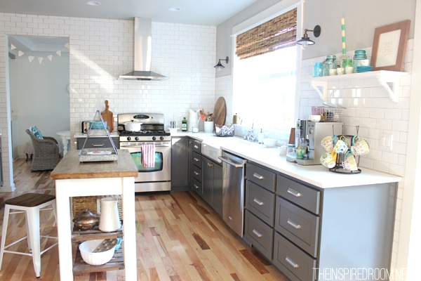 Gray and white kitchen with subway tile