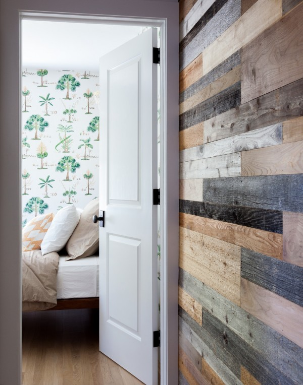 Green Tree Patterned Wallpaper and Reclaimed Wood Planked Wall