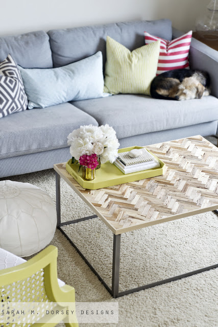 Herringbone Reclaimed Wood Coffee Table DIY