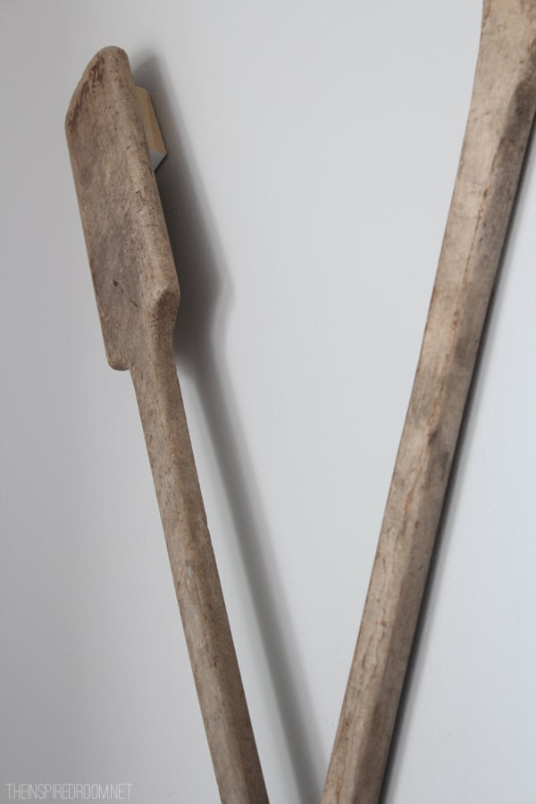 How to Hang Oars {or Paddles} in an X Shape