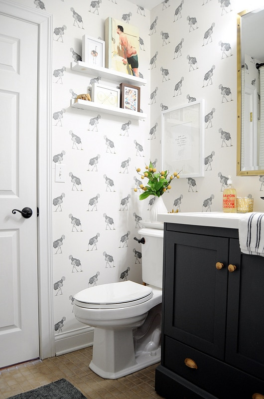 Ostrich Wallpaper Powder Bath Black and White