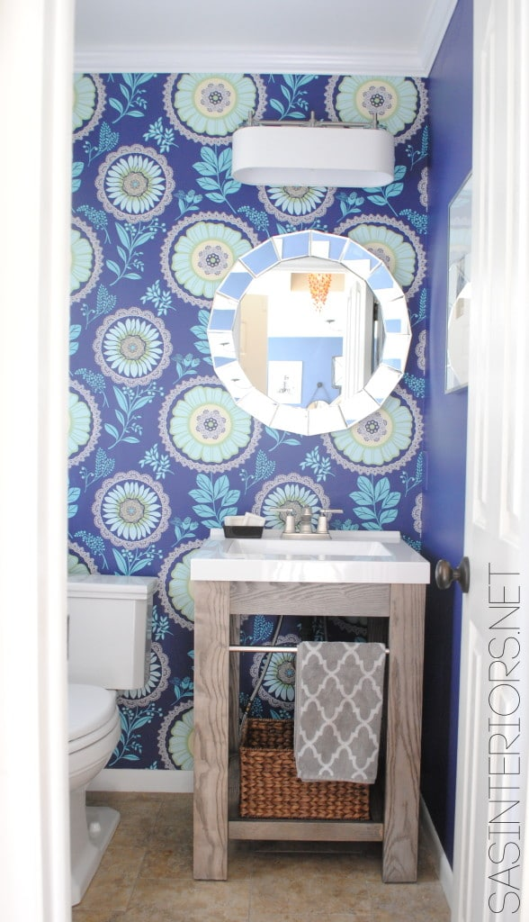 Powder bath large scale floral wallpaper in blue and purple