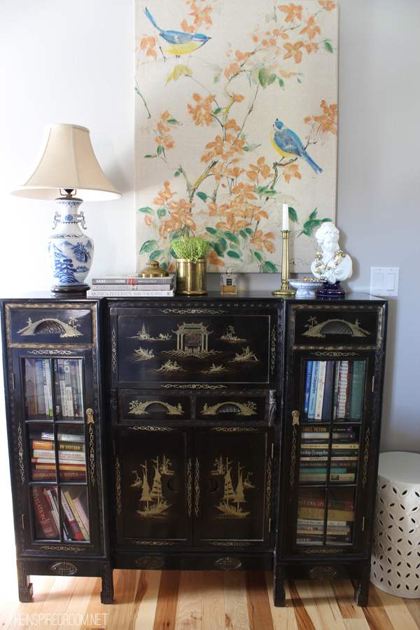The Inspired Room - Antique cabinet bedroom display