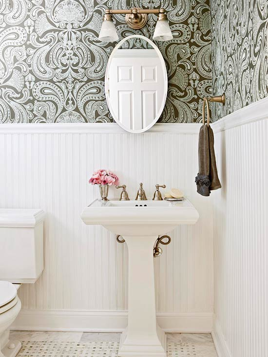 Wallpaper and Wainscoting Half Bath