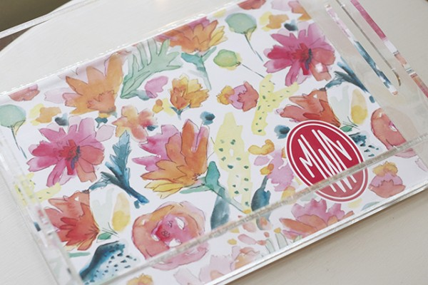 Watercolor Monogram Tray