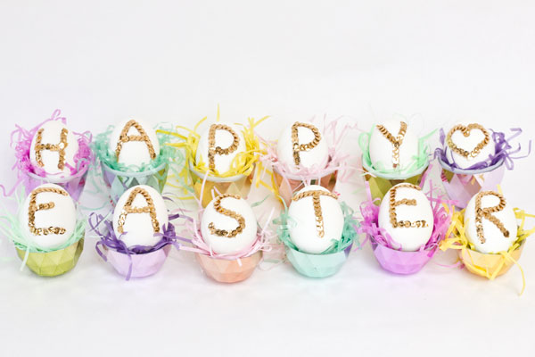 DIY Sequined Easter Eggs